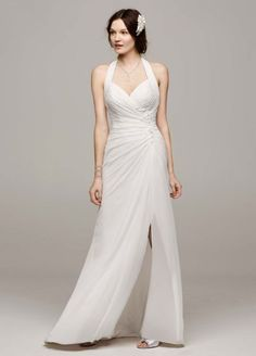 Chiffon Halter Wedding Dress with High Slit WG3482  Only $99 at David's bridal... Can get a lace top for it?