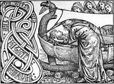 Ringhorne eller Hringhorne var i nordisk mytologi guden Balders mäktiga skepp, på vilket han och hans maka Nanna lades på bål. Foto: Odin's last words to Baldr.