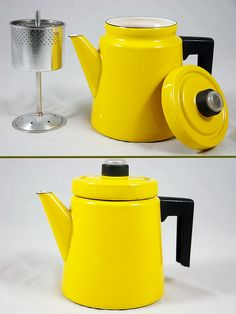 vintage Finel enamel coffee percolator designed by Antti Nurmesniemi Coffee Cups, Coffee Maker, Coffee Percolator, Coffee Machine, Coffee Geek, Coffee Lovers, Mellow Yellow, Color Yellow, Colour