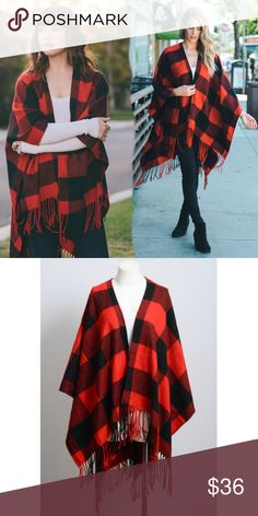 "Angie Buffalo Plaid Poncho with fringe Get cozy in this incredibly ingenious fashionable classic oversized Buffalo checkered wrap. Whether you're looking for a warm stable in your closet or a holiday gift  this wrap poncho has you covered.   It looks great with anything; it can be worn open, belted, or wrapped. 100% Acrylic.   Dimension 46"" x 55""  Reversible Happy Organics Boutique Sweaters Shrugs & Ponchos"