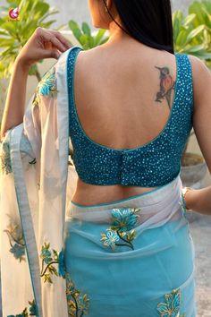 Buy Off White and Blue Tissue Georgette Half and Half Saree - Sarees Online in India Lehenga Designs, Saree Blouse Designs, Sarees For Girls, Saree Backless, Saree Poses, Saree Photoshoot, Fancy Blouse Designs, Saree Look, Indian Beauty Saree