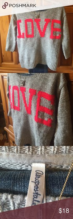 Aeroposale grey LOVE knit sweater Crochet sweater with built in crochet LOVE text across front Wide ribbed neck Long sleeves size  small / petite measurements:  length 22 in...width bust20 in across approx.sleeves  16 in from shoulder approx.  Acrylic and wool blend. Aeropostale Sweaters Crew & Scoop Necks