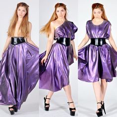 NEW PRODUCT ALERT!! Just a few ways to wear our new multiway skirt/dress outfit. Comes with a belt of your choice. Perfect for the person that cant decide how to wear their latex.website link in bio #latex #latexdress #yummygummy #yummygummylatex #multiway #multiwaydress #purpledress #purple #colourchange #colourchangelatex #latexfashion #makingfashion #handmadelatex #handmadefashion #handmade
