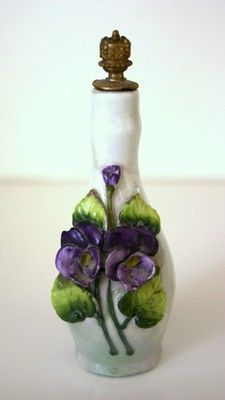 GORGEOUS CROWN TOP PERFUME SCENT PORCELAIN BOTTLE WITH DELICATE VIOLETS GERMANY | eBay