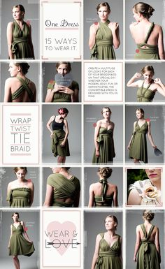 Convertible bridesmaids dresses (one style; 15 ways to wear it) AND convertible bridal gowns!a bridesmaid dress you might actually wear again :o Convertible Clothing, Convertible Dress, 15 Dresses, Fashion Dresses, Bridesmaid Dresses, Bridesmaids, Evening Dresses, Infinity Dress Styles, Infinity Clothing