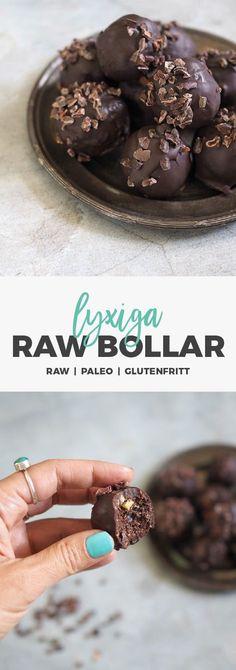 Recept: Nyttiga chokladpraliner. Chokladdoppade rawbollar med kakaonibs. Glutenfria / raw / paleo
