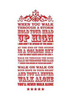 A3 'YNWA' digital print by kamcdermott74 on Etsy - words to the famous Liverpool FC anthem.