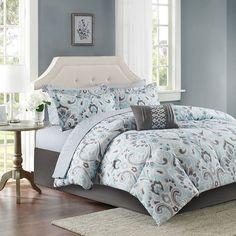 Madison Park Essentials Silvia Bed Set, Blue
