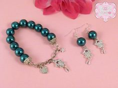 Bracelet and matching earrings made with big oil and by EsseeTempo