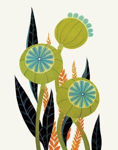 Items similar to Olive & Teal Poppy Pods - Fine Art Print on Etsy Art And Illustration, Botanical Illustration, Art Du Collage, Arte Floral, Art Design, Botanical Art, Flower Art, Art Projects, Art Drawings