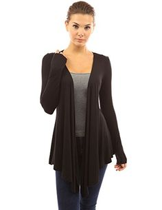 PattyBoutik Womens Waterfall Asymmetric Hem Cardigan Black M -- More info could be found at the image url. (This is an affiliate link) #WomensSweaters