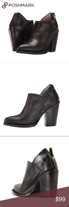 """Freebird by Steven Boots Booties in Size 8 Freebird by Steven """"Steel"""" Boots Booties in Black Brown Size 8.  Brand new boots without the box. Per freebird website the are """"black"""" but to me they look like a dark brown.  v-cut opening, medium stacked heel, steel cowboy bootie is a perfect transitional shoe to pair with denim or dress.  Upper made of antiqued leather featuring topstitching detail. Back-zip closure. Almond toe on a low ankle bootie silhouette. Leather lining and footbed. Stacked…"""