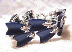 Vintage Lisner Blue Lucite Link Bracelet by ViksVintageJewelry, $19.99