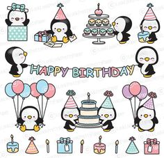 Premium Vector Clipart – Kawaii Birthday Penguins – Cute Birthday Penguins Clipart Set – High Quality Vectors – Kawaii Christmas Clipart - New Deko Sites Birthday Doodle, Birthday Card Drawing, Penguin Birthday, Cool Birthday Cards, Birthday Card Design, Art Birthday, Kawaii Drawings, Cute Drawings, Pinguin Tattoo