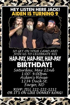 duck dynasty party invitations | Duck Dynasty Birthday Invitation Personalized For by DaysWeDesign