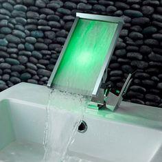 Koko LED Waterfall Single Hole Bathroom Sink Faucet