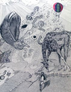 Performed on the canvas with a ballpoint pen.