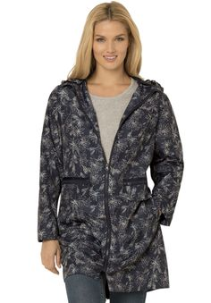 """Don't worry about the rain! This packable plus size rain jacket folds into a take-along pouch small enough to fit in your tote bag. Features a detachable button hood, double pocket entry with zip top pocket, side-entry welt pocket with flap.  A-line silhouette provides near-perfect comfort 34"""" length hits the lower thigh removable button hood full length sleeves enable complete freedom of movement double-entry pockets fear top-entry zip pocket, and side-entry welt pocket zip-top pouch…"""