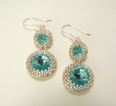 Apatite Blue Beaded Rivoli Crystal Sterling Silver Earrings