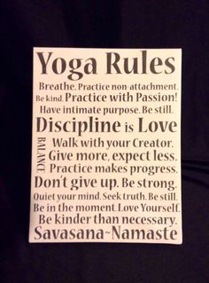 "Canvas Print...""Yoga Rules"" Inspirational Sign for Studio or Home Decor on Etsy, $18.99"