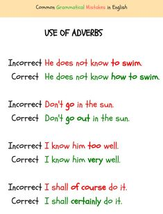 It is very easy to make mistakes with adverbs in English ... English Adjectives, English Verbs, English Grammar Rules, English Prepositions, English Vocabulary, English Language, English Time, English Study, English Lessons