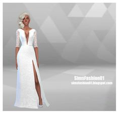 Wedding Dress With Slit at Sims Fashion01 via Sims 4 Updates