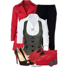 """White Button Down"" by stephiebees on Polyvore I have that vest!!! Awesome"