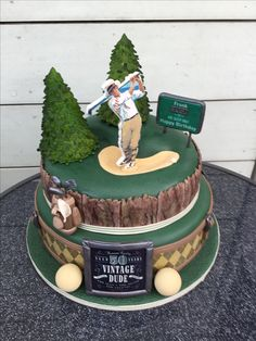 Vintage dude golf cake