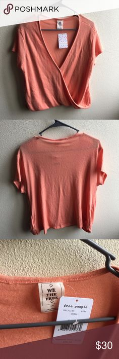 Free People Short Sleeve Super soft coral Free People short sleeve with a snap in the middle for extra detail Free People Tops Tees - Short Sleeve