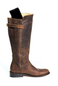 Luxurious leather riding boot with pockets for your cell phone, credit cards and passport. Perfect for dancing, travel, motorcycling and horseback riding! Available in wide, regular, & slim calf. Click to view - www.elizabethanneshoes.com $309.99