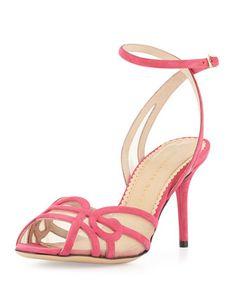 2014 - Sugar 85 Suede Swirl Sandal, Fuchsia by Charlotte Olympia at Bergdorf Goodman.