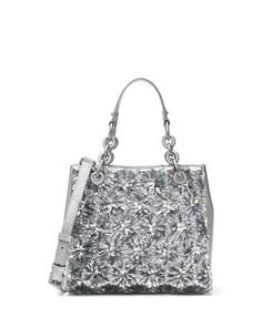 MICHAEL MICHAEL KORS FLORAL BURST SMALL SATCHEL BAG, SILVER. #michaelmichaelkors #bags #shoulder bags #hand bags #leather #satchel #