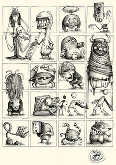 "Series of Sketches made with ballpoint pen on paper.""Little and quick Concepts for Great Ideas"""