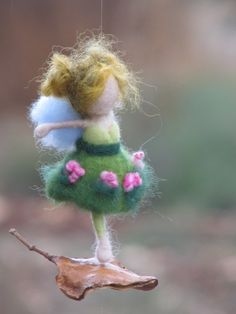 Needle felted Waldorf inspired Little magic fairy Mobile