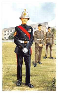 ICYMI: Postcard The Royal Marines, Colour Sergeant, Lympstone by Geoff White Royal Marines Uniform, Army Dress Uniform, British Army Uniform, British Uniforms, British Soldier, Military Uniforms, Military Art, Military History, Military Fashion