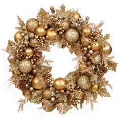 Faux Gold Dust Pinecone & Holly Wreath