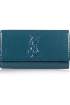 Jewel tones for fall. YSL Belle de Jour patent-leather clutch