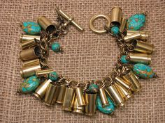 Bullet Jewelry - Mixed Brass and 22 Caliber Bullet Casing Charm Bracelet with Turquoise Beadwork - A SureShot Original Design Ammo Jewelry, Jewelry Armoire, Metal Jewelry, Jewelry Crafts, Antique Jewelry, Beaded Jewelry, Handmade Jewelry, Gothic Jewelry, Antique Brass