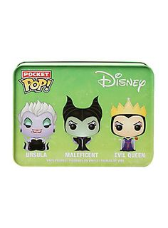 "Ursula, Maleficent & Evil Queen are given a fun, and funky, stylized looks as adorable miniaturized collectible vinyl figures in a tin!<ul><li> 1 1/2"" tall</li><li>Vinyl</li><li>Imported</li></ul>"