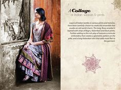 Layers of Indian textiles in various prints and textures, have been carefully chosen to create this ensemble that exudes an old world charm. The long, flowy #anarkali is layered with strips of Bagru, #Kalamkari and block prints. Further adding to this rich play of textures is intricate embroidery that creates a geometric pattern on the yoke, and a long Kalamkari skirt that adds more flair to the garment.
