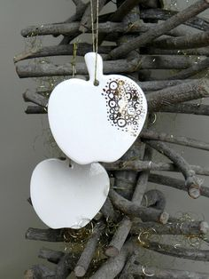 White Gold Christmas Ornaments Apple Ceramic Luxury by Ceraminic