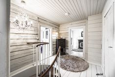 "Scandinavian log cabin with the interior log walls pained white= Beautiful and airy! NO drywall mixed with log walls like the ""student homes"" examples. Use ship lap. Needs texture to not be piecy White Cabin, Modern Log Cabins, Log Wall, Log Home Decorating, Rustic Home Interiors, Log Cabin Homes, House Design, Furniture, Ship Lap"