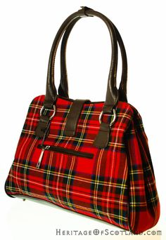Click on the photo to go to our online store. Plaid handbag.    Ladies Wool Tartan Handbag, Clasp, Stewart Royal    Product ID: 18963