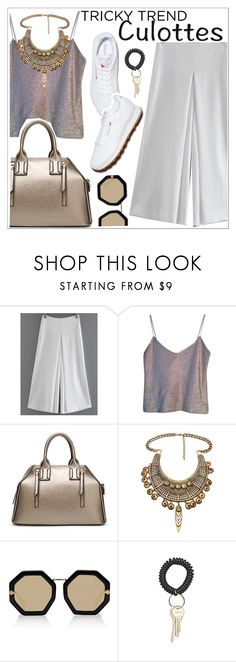 """""""Tricky Trend: Chic Culottes"""" by teoecar ❤ liked on Polyvore featuring Narciso Rodriguez, Reebok, Karen Walker, TrickyTrend and culottes"""