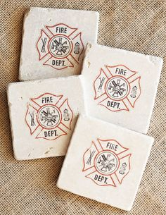 Firefighter Coasters Set of 4 Stone Coasters Gifts by lotuspetale