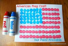American Flag Dot Art - Printable Included - Meaningful Mama