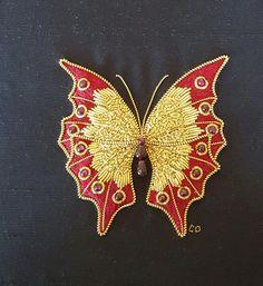 "Stitched by Carol Dundas Allison Cole design ""Golden Flutterby"". 1-31-2015"