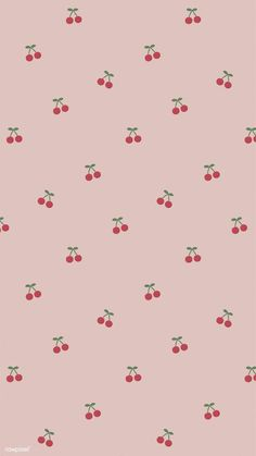 Red hand drawn cherry pattern on pink mobile phone wallpaper illustration