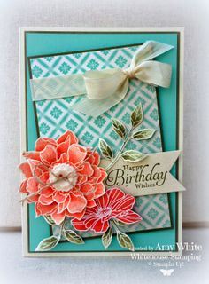 """By Amy White for """"WhiteHouse Stamping"""":, featuring Stampin' Up! stamps: """"Peaceful Petals"""", """"Simply Sketched"""", and Inks: Versamark, Always Artichoke, Calypso Coral"""