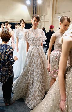 Backstage before the Georges Hobeika Haute Couture Spring 2015 Runway Show in Paris
